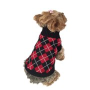 Black and Red Pets Puppy Teddy Dogs Argyle Sweater, Small (Gift for Pet)