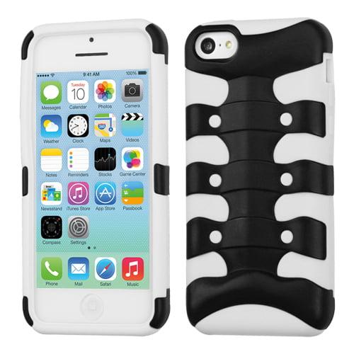 Apple iPhone 5C MyBat Protector Case, Rubberized Black/Solid White Ribcage Hybrid