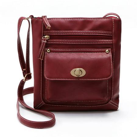 Womens Leather Satchel Cross Body Shoulder Messenger Bag - Red Satchel Bag