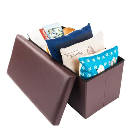 Ktaxon Faux Leather Storage Ottoman Folding Footstool Home Organizer Rectangle Furniture Brown