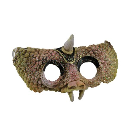 Horned Reptilian Textured Half Face Halloween Mask - Half Normal Half Halloween Face