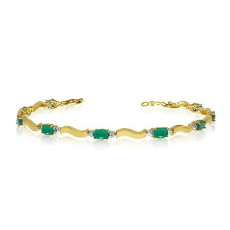 10K Yellow Gold Oval Emerald and Diamond