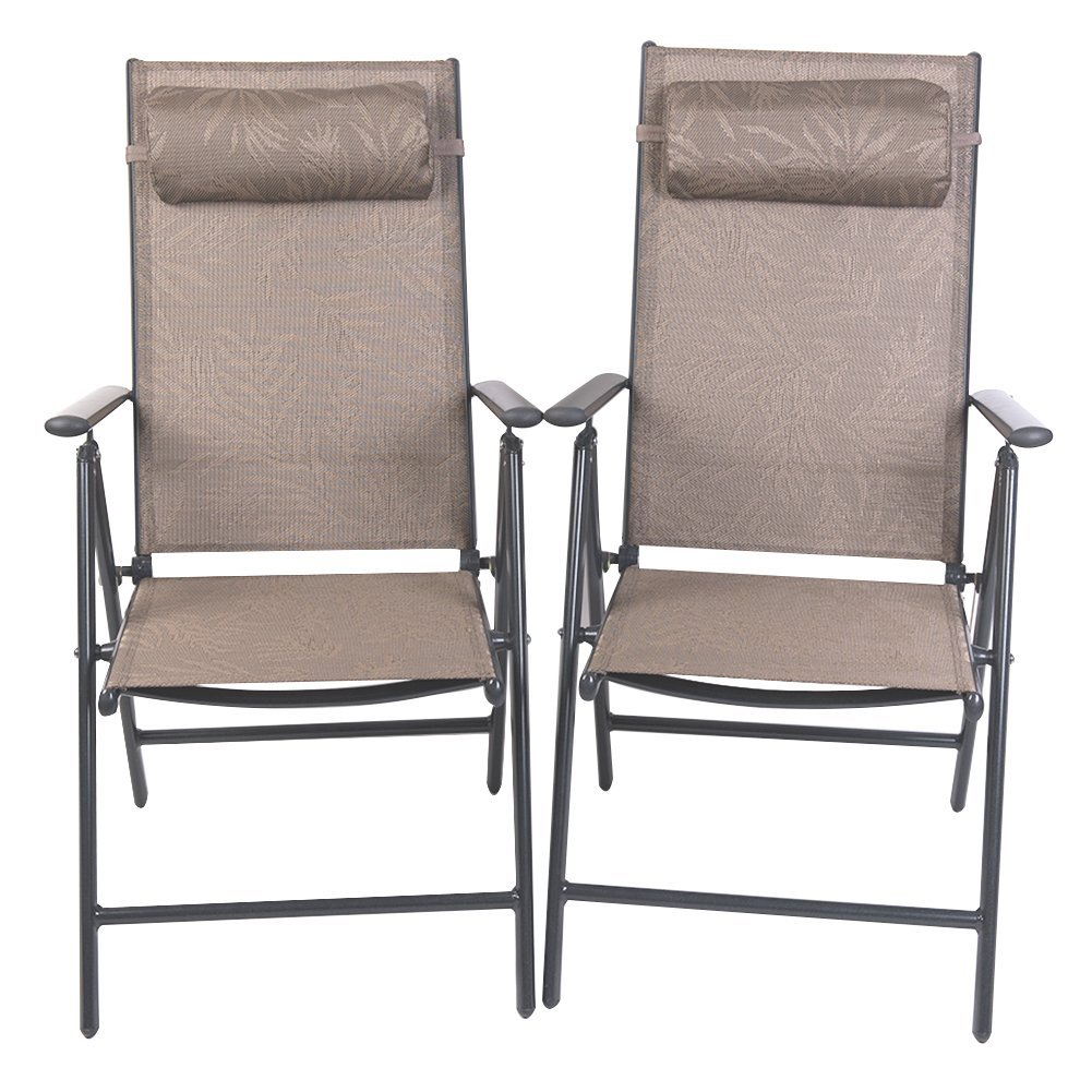 PatioPost Folding Chairs Adjustable Outdoor Recliner Patio 2 Persons Textilene Poolside Garden Lounge Chairs,JA