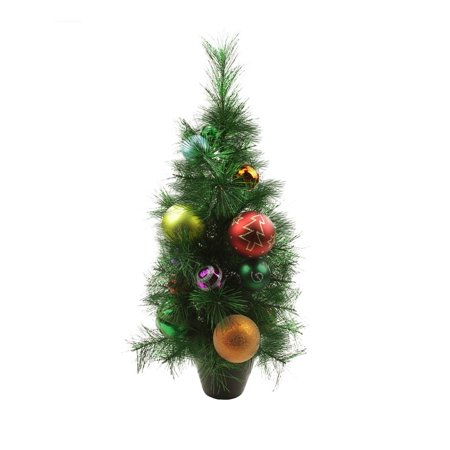 2 potted pre decorated multi color ball ornament artificial christmas tree unlit