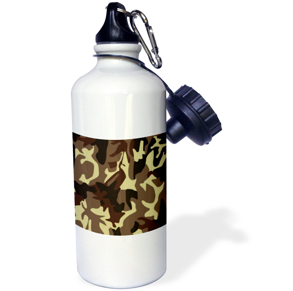 3dRose Brown Camo, Sports Water Bottle, 21oz