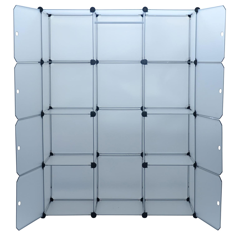 4e29682cdea0 HomCom Modular Portable Storage   Clothes Closet Organizer w  8 Enclosed  Cubes - Walmart.com