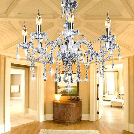 1/2 Packs 600W E12 6 Lights Candle Clear Crystal Chandelier Elegant Ceiling Light Fixture Modern Elegant Pendant Hanging Lamp Lighting AC110V/220V DIY Decal For Home Decor