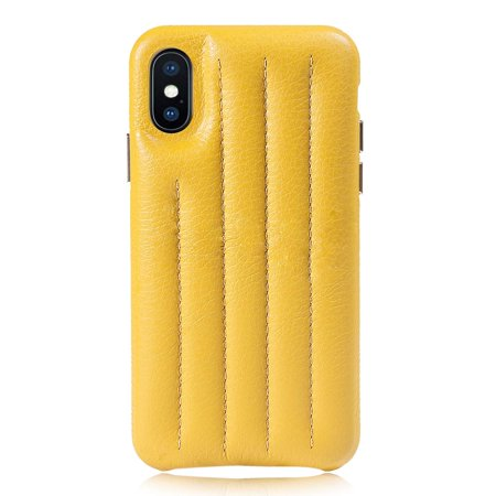 Genuine Italian Leather Hard Back Case Protective Cover Snap On Case for  Apple iPhone Xs/iPhone X -Yellow