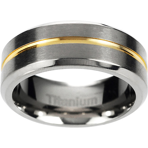 Daxx Men's Titanium Two-Toned Grooved Center Beveled Edge Ring