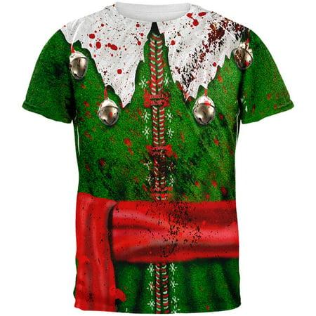 Christmas Zombie Attack Survivor Elf Costume All Over Mens T Shirt](Survivor Costume)