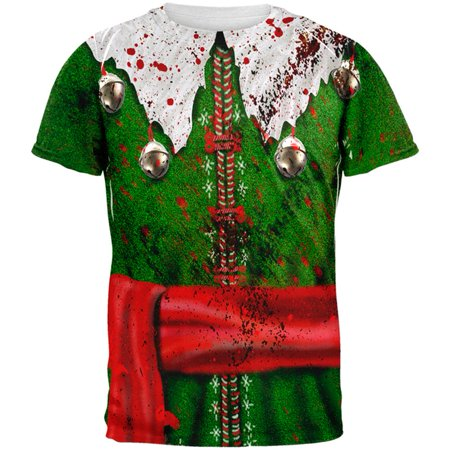 Christmas Zombie Attack Survivor Elf Costume All Over Mens T Shirt](Halloween's Over Christmas Meme)