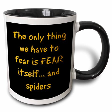 3dRose The only thing we have to fear is fear itself and spiders orange black - Two Tone Black Mug, 15-ounce (Black And Orange Spider)