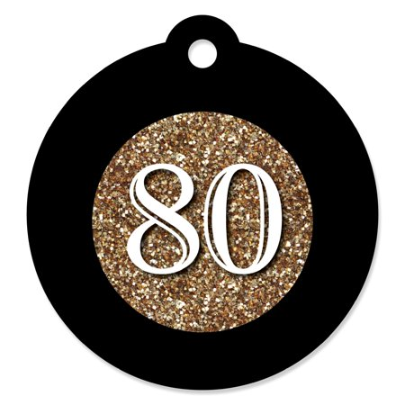 Adult 80th Birthday - Gold - Birthday Party Favor Gift Tags (Set of 20) - 80th Birthday Party Favors