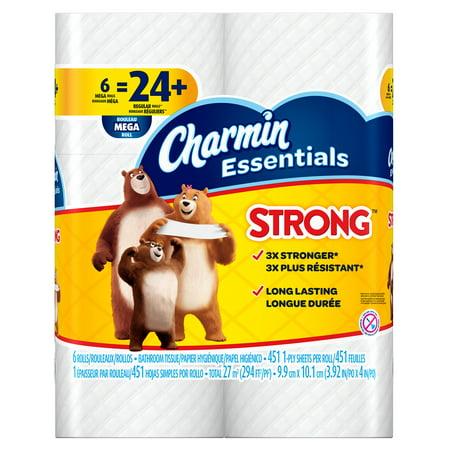 Charmin Essentials Strong Toilet Paper - 6 Mega Rolls