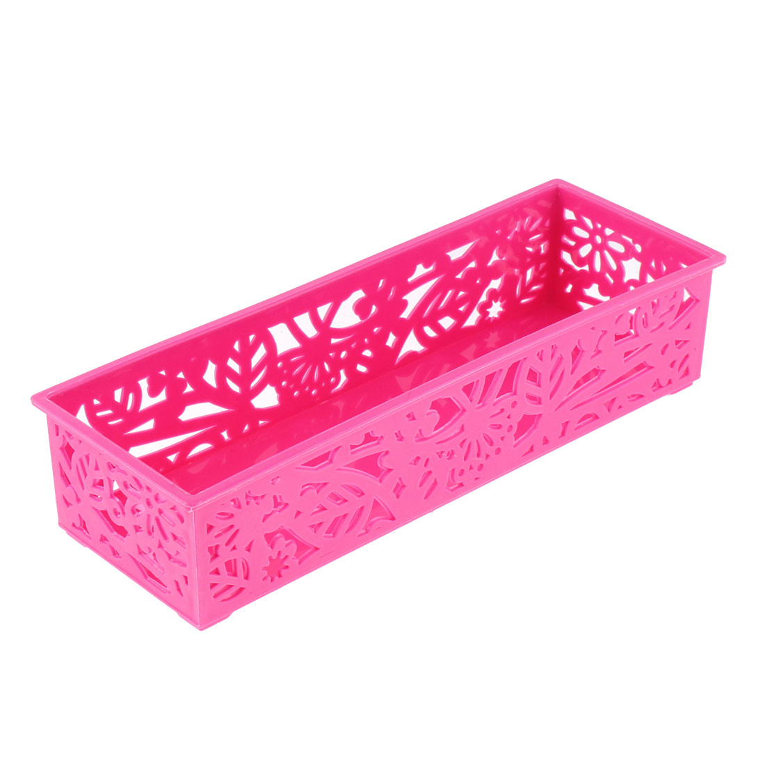 Home Plastic Hollow Out Flower Design Storage Basket 245mmx85mm White