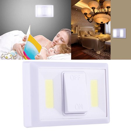 Switched Double Wall Light - AMZER Cordless 6W White Light Double on Side by Side COB LED Wall Light Switch Night Light Lamp