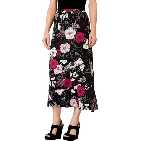 NY Collection Womens Petites Floral Print Mid-Calf Flounce Skirt Black PL