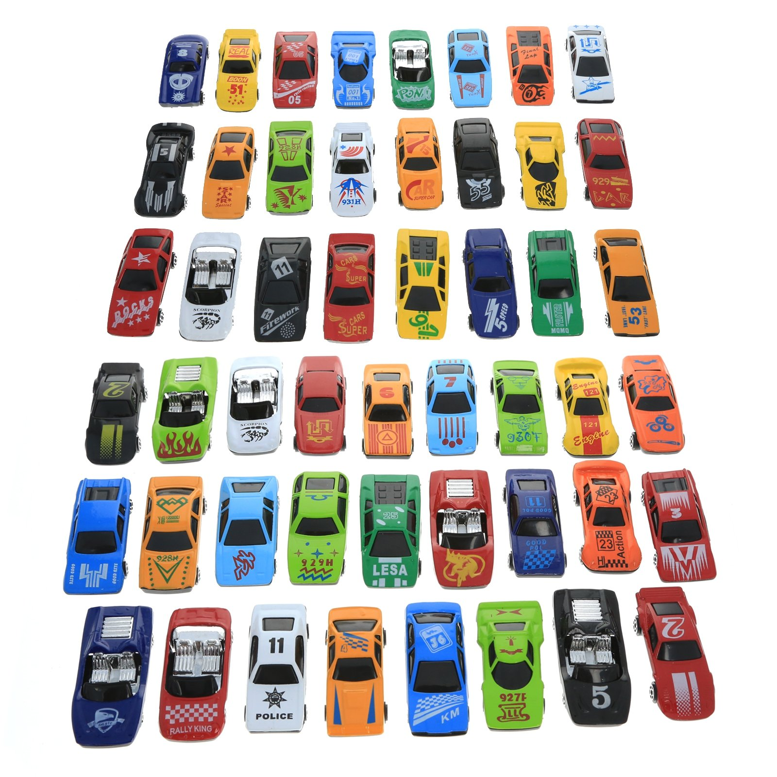 KidPlay Kids Die Cast Toy Race Car Set Assorted Colors Boys Toy Vehicles - 50pc