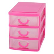 Unique Bargains Home Dresser Plastic 3 Layers Trinket Cosmetic Organizer Holder Desk Storage Box Fuchsia