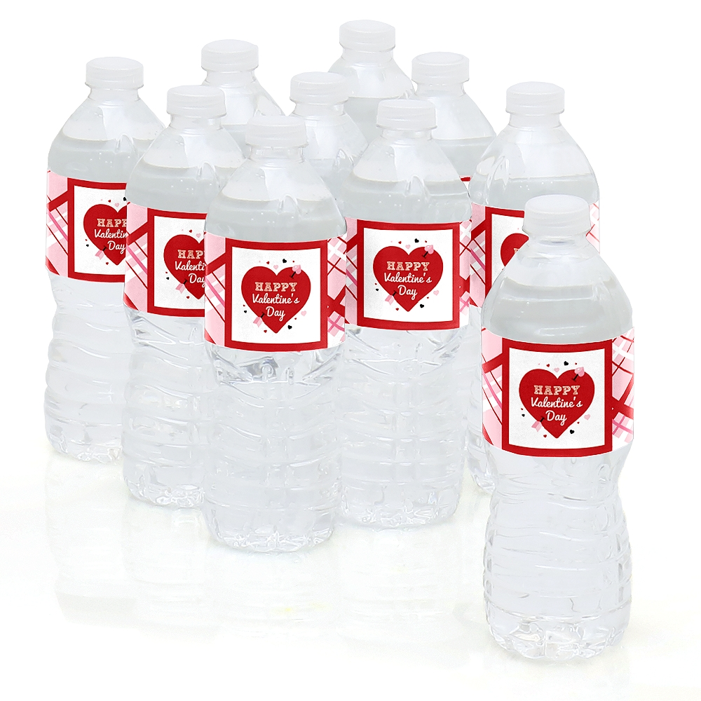 Valentine's Day Conversation Hearts - Valentine's Day Party Water Bottle Sticker Labels - Set of 10