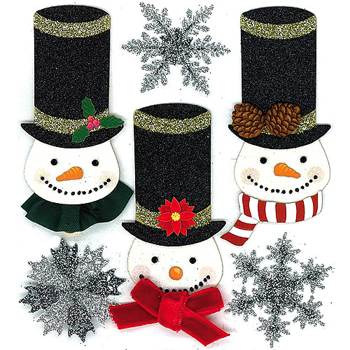 Jolee's Christmas Stickers, Glittered Snowmen