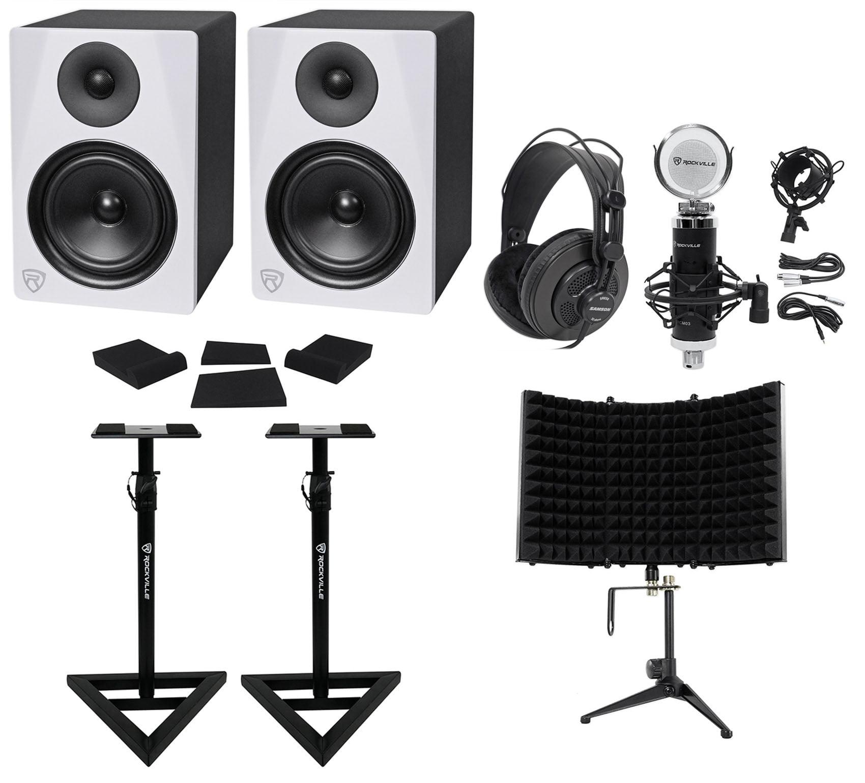 "2) Rockville DPM6W 6.5"" 420w Active Studio Monitors+Stands+Headphones+Mic+Shield by ROCKVILLE"
