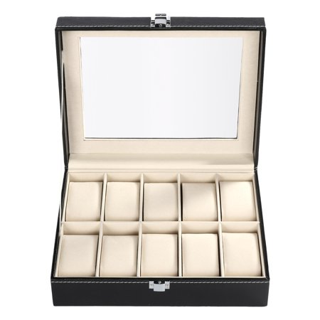 Glass Top 10 Watch Black Leather Box Case Display Organizer Storage Tray for Men & Women /10 Slots Watch Storage Display Box Synthetic Leather Glass Window Jewelry Case Black (Window Display Box)
