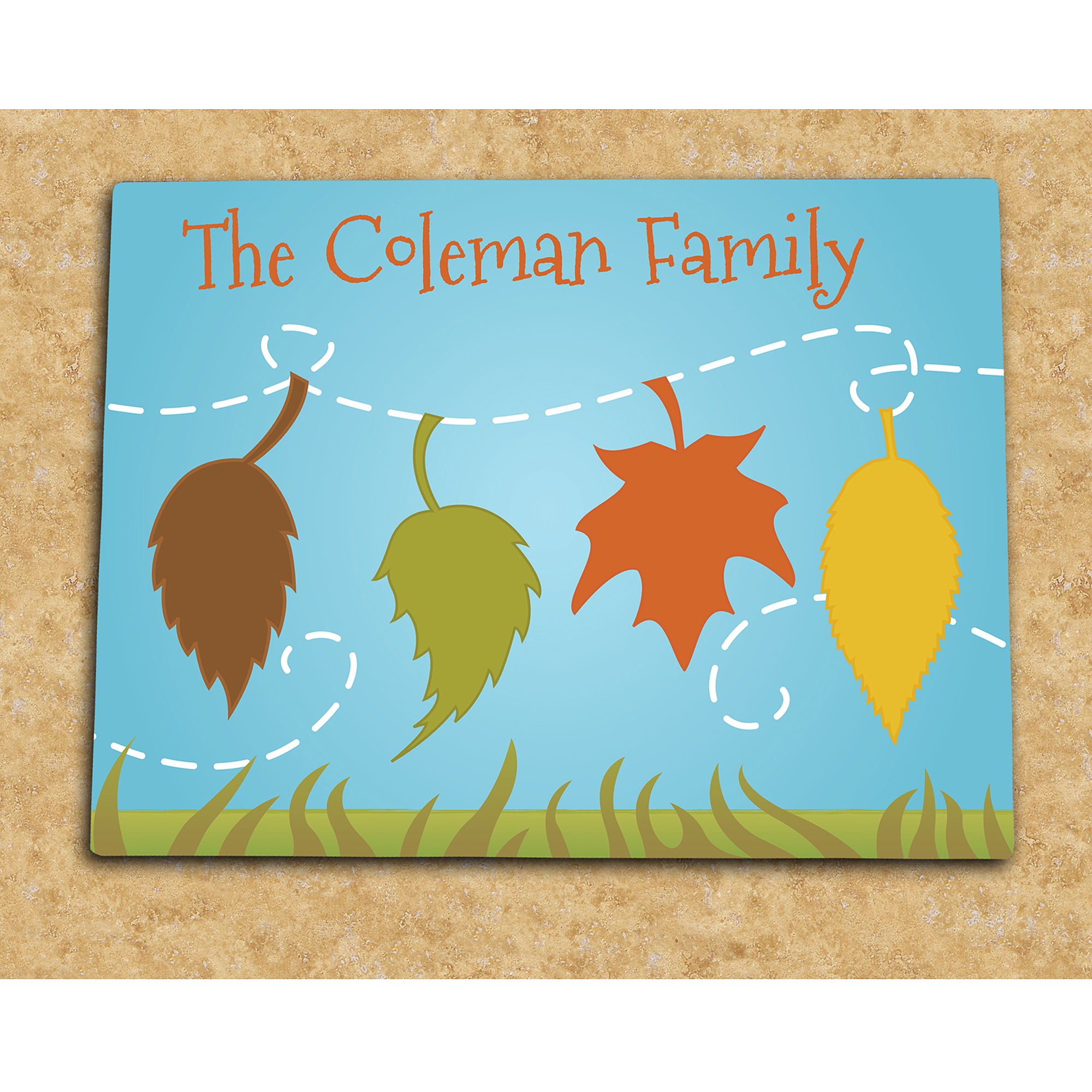 Personalized Falling Leaves Family Name Glass Cutting Board
