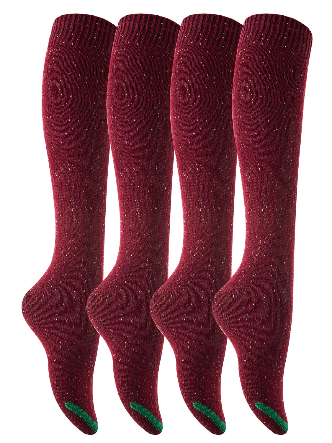 Lovely Annie Big Girl's 4 Pairs Pack Knee-High Cotton Boot Socks H158212 Size L/XL(Wine)