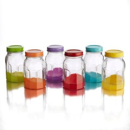 Colored Jars with Lids (Set of 6), Multicolor
