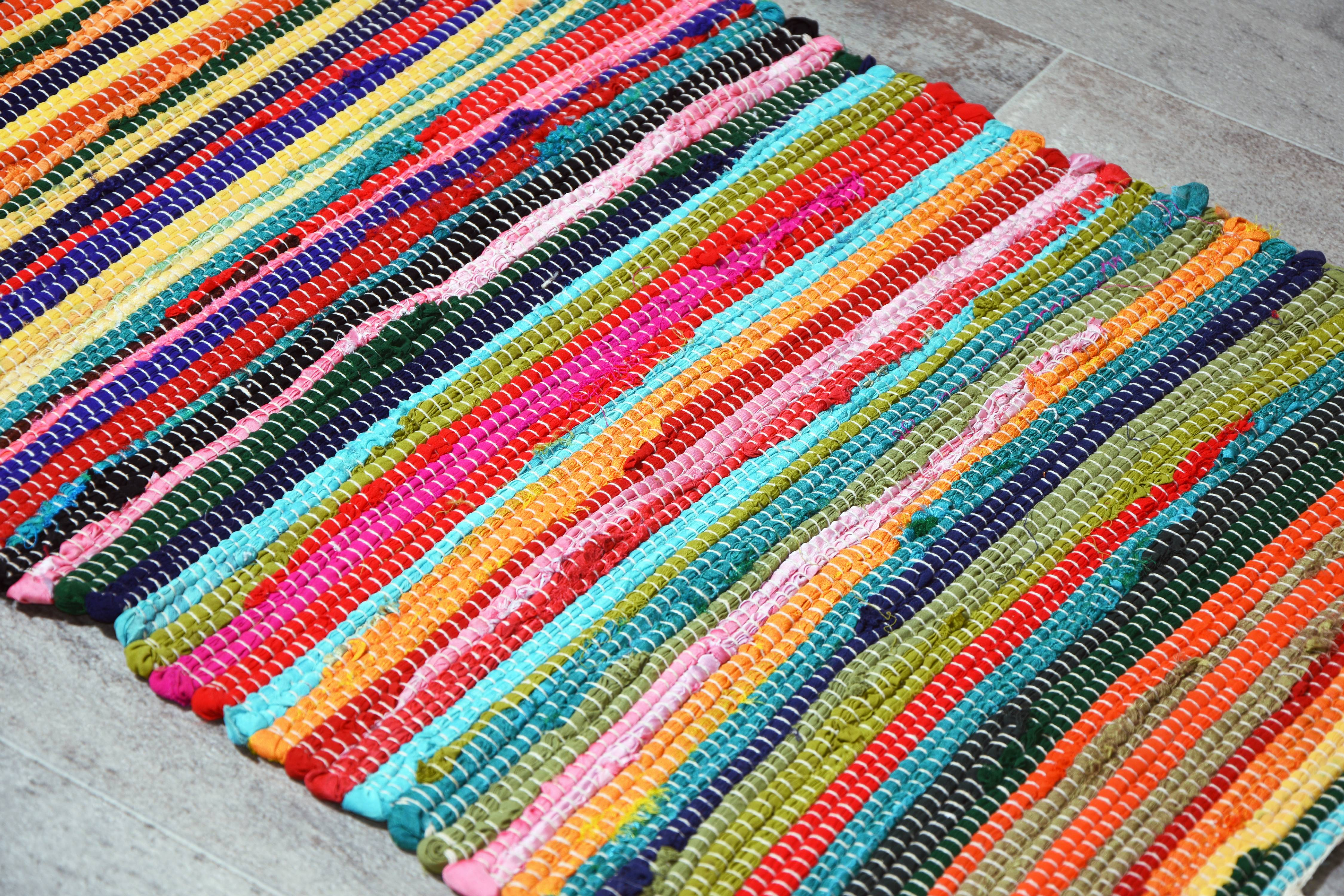 Multi Chindi Rag Rug Multicolor Cotton