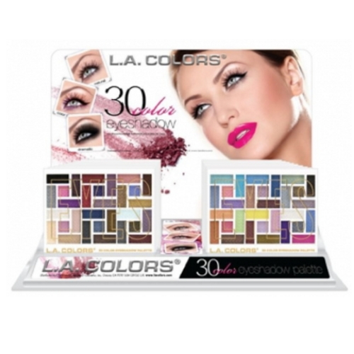 L.A. COLORS 30 Color Eyeshadow Palette Display Set 18 Pieces