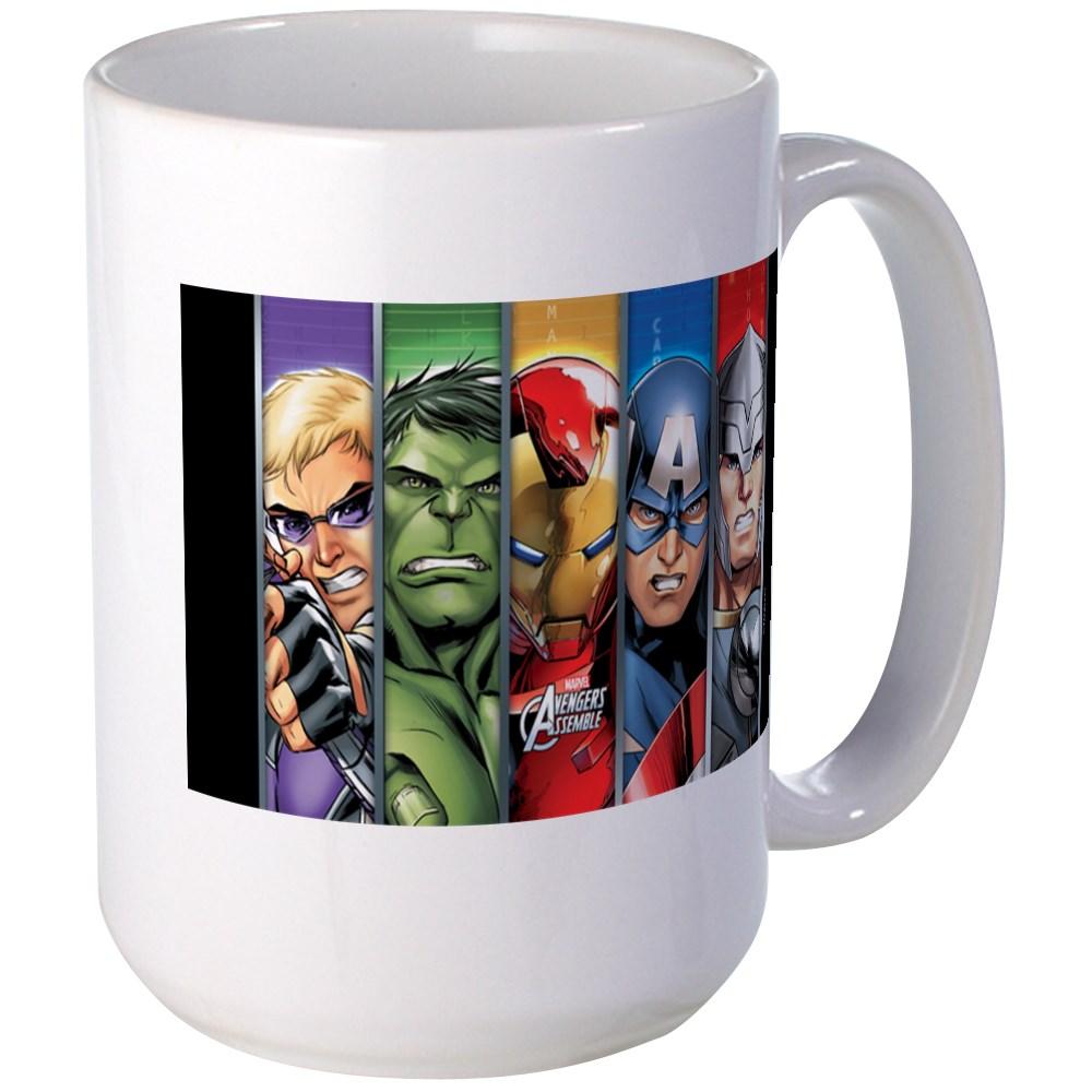 CafePress - Avengers Assemble Striped Large Mug - 15 oz Ceramic Large Mug