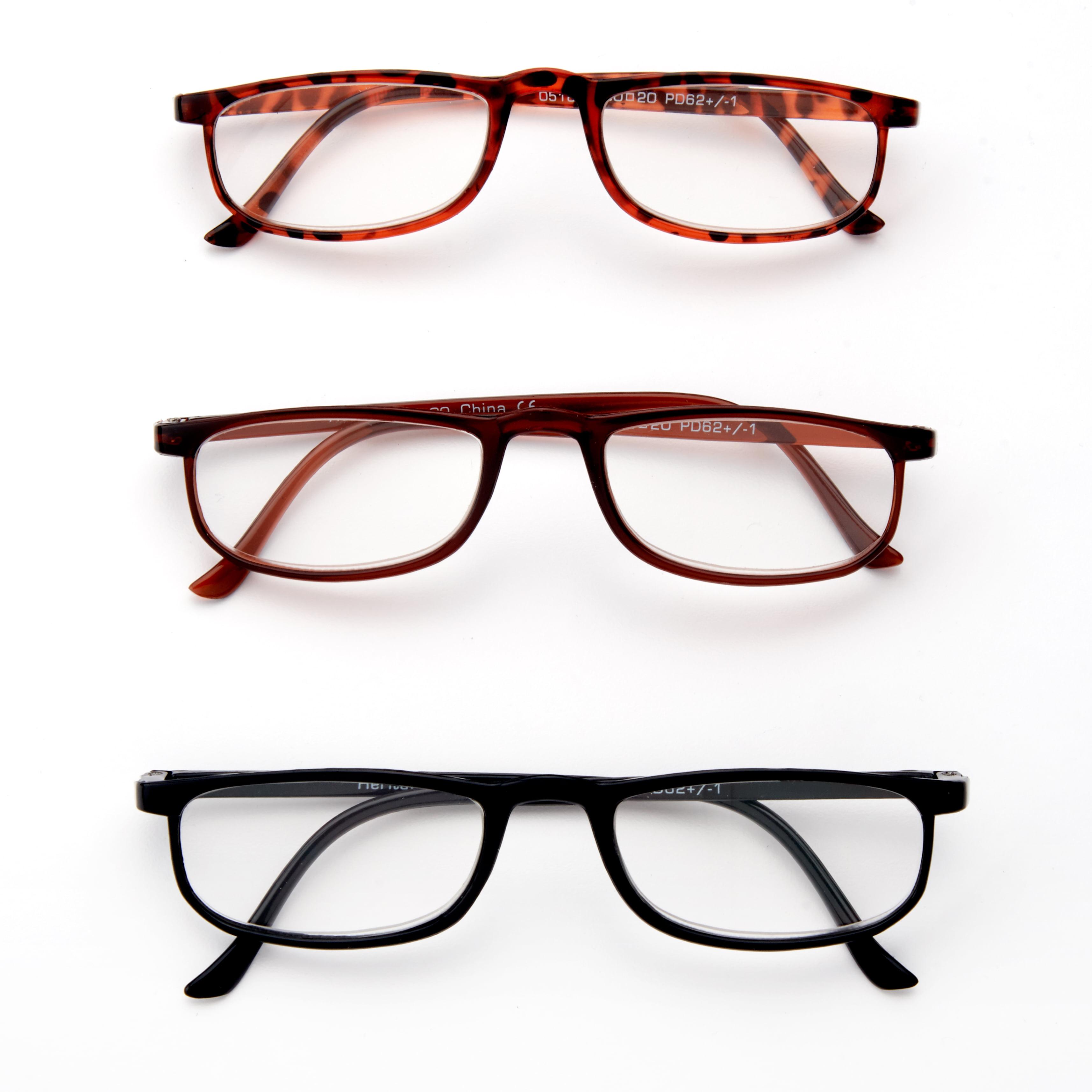 8f46ba3b75ba Equate Heritage Reading Glasses, +3.00, Assorted Colors, 3 Pack -  Walmart.com