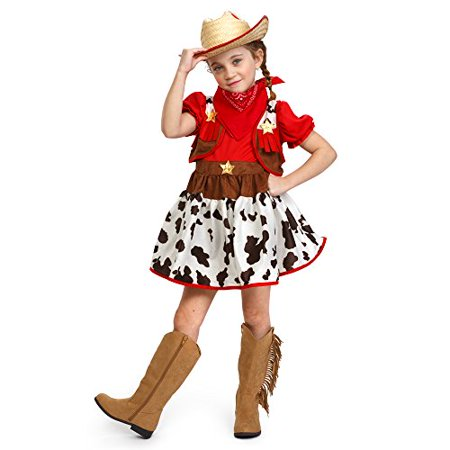 Dress Up America Girls Cutie Star Cowgirl Halloween Deluxe Costume Outfit - Dress Up Like A Cowgirl