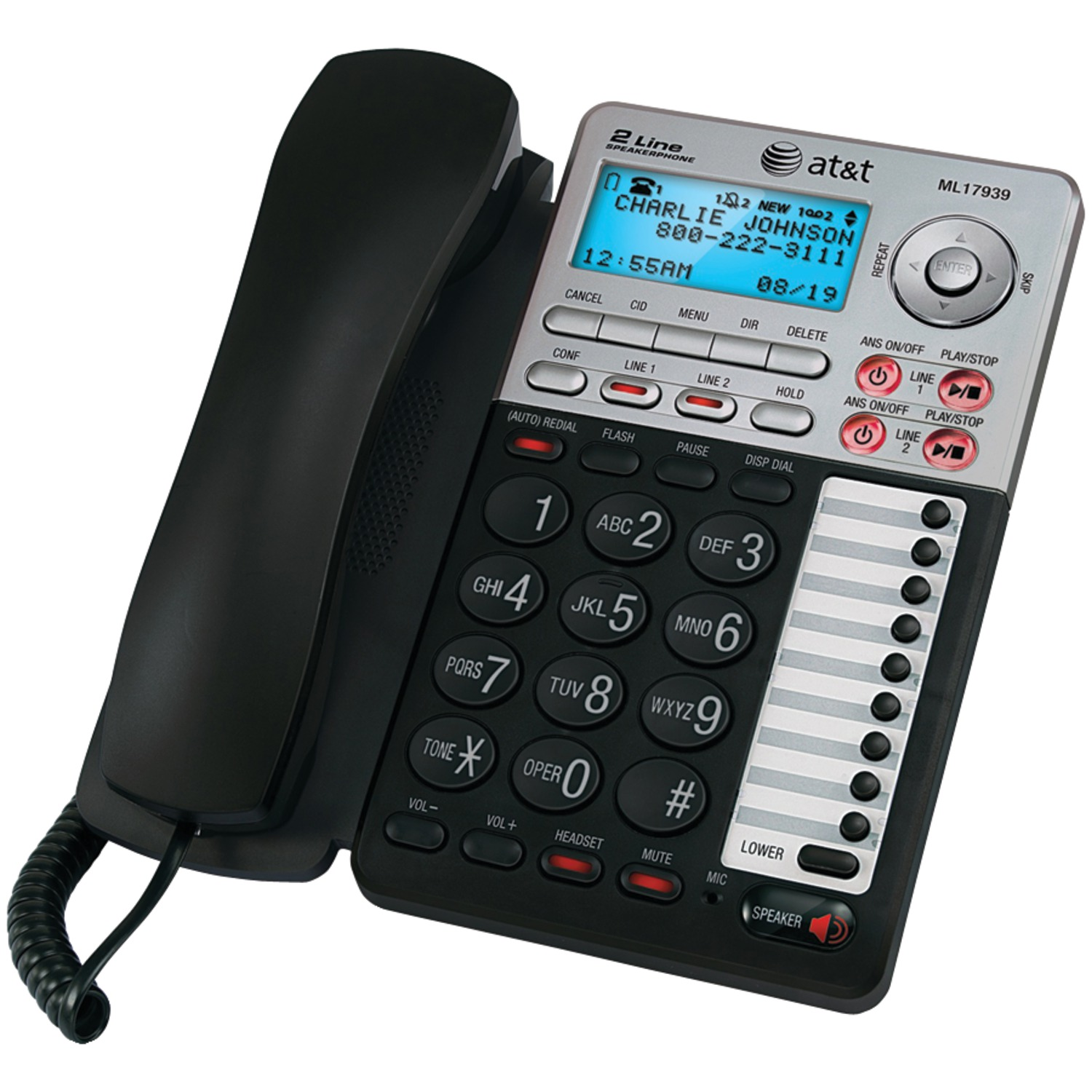 AT&T ML17939 Two-Line Speaker Phone with Caller ID and Digital Answering System by AT&T