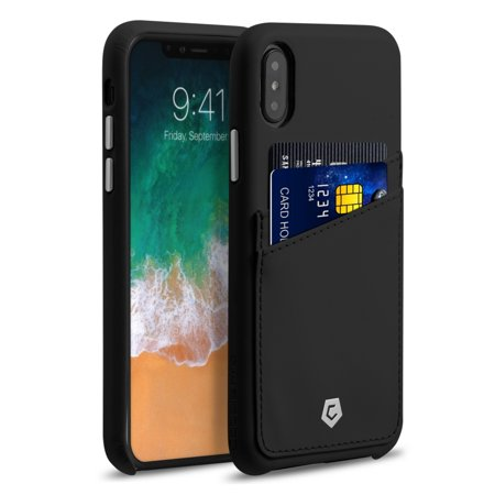 Cobble Pro Premium Credit Card Slot Holder Skin Leather Snap On Case Phone Back Cover For Apple Iphone X   Black