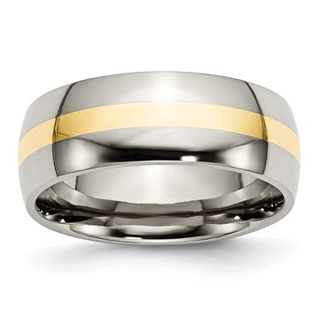 Titanium 14k Yellow Inlay 8mm Wedding Ring Band Size 12.50 Precious Metal Fine Jewelry For Women Gifts For Her - image 10 de 10