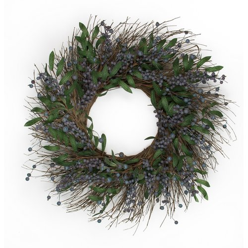 Mills Floral Company 24'' Blueberry Wreath