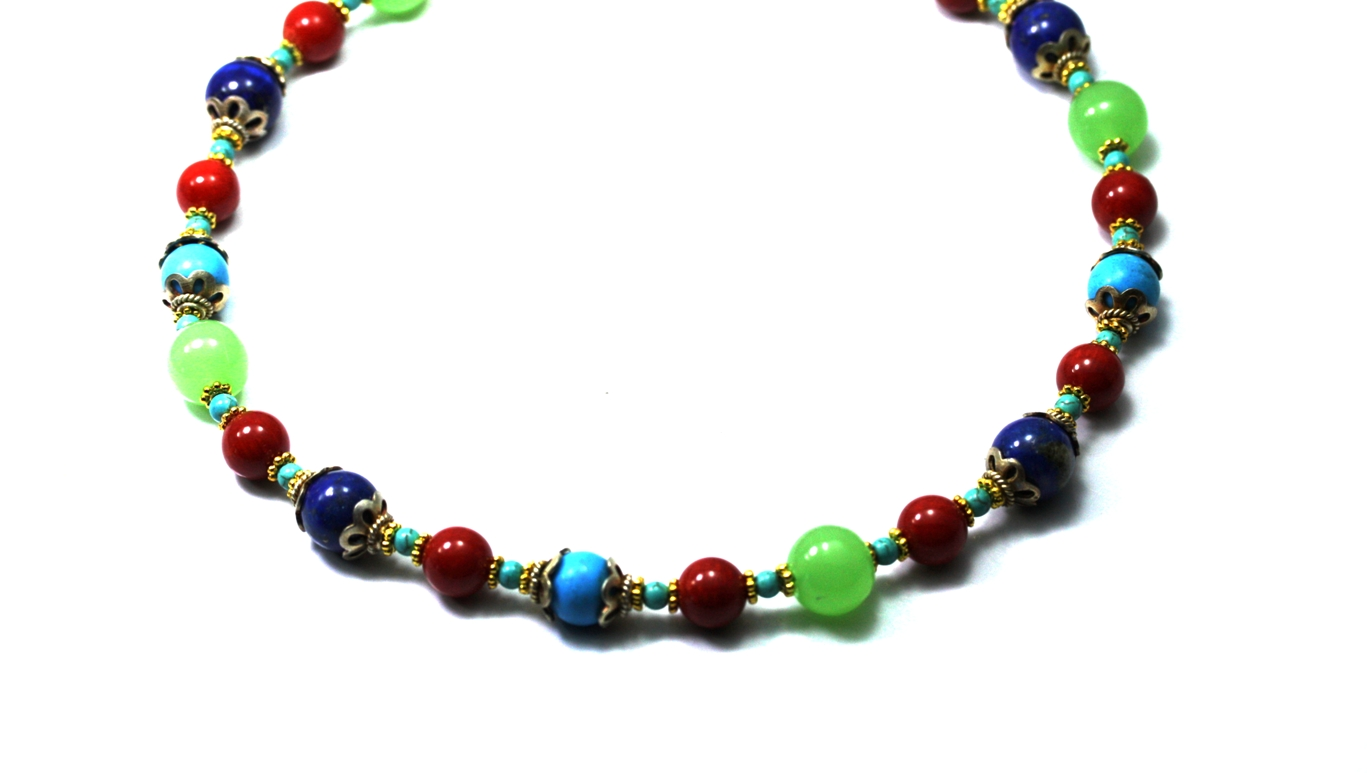 "Gemstones Necklace Lapis Turquoise Coral Chalcedony and Indian Beads Beaded Necklace 17"" Long by"