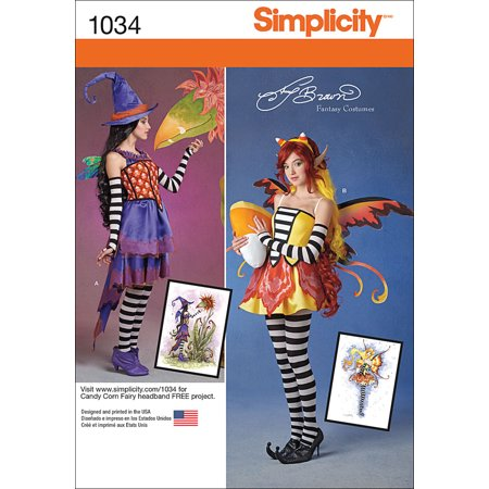 Simplicity Misses' Amy Brown Fairy Costumes, 14-16-18-20-22