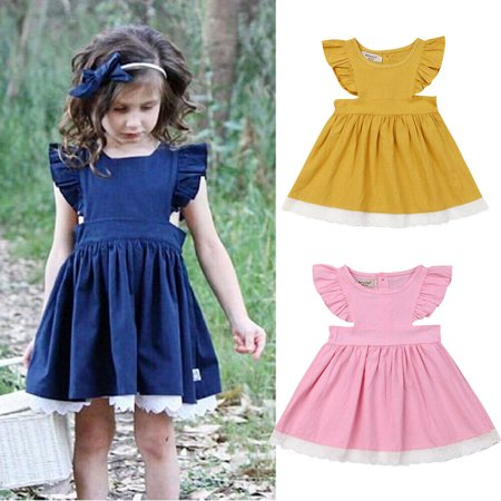 Baby Holiday Dresses (Toddler Kids Baby Girls Clothes Ruffle Sleeve Short Tutu Dress Sundress Holiday dress clothes girls dress kids dresses for)