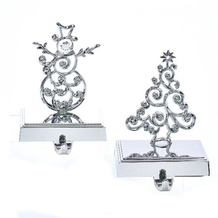 Set of 6 Silver Colored Tree/Snowman Decorative Stocking Hangers 7