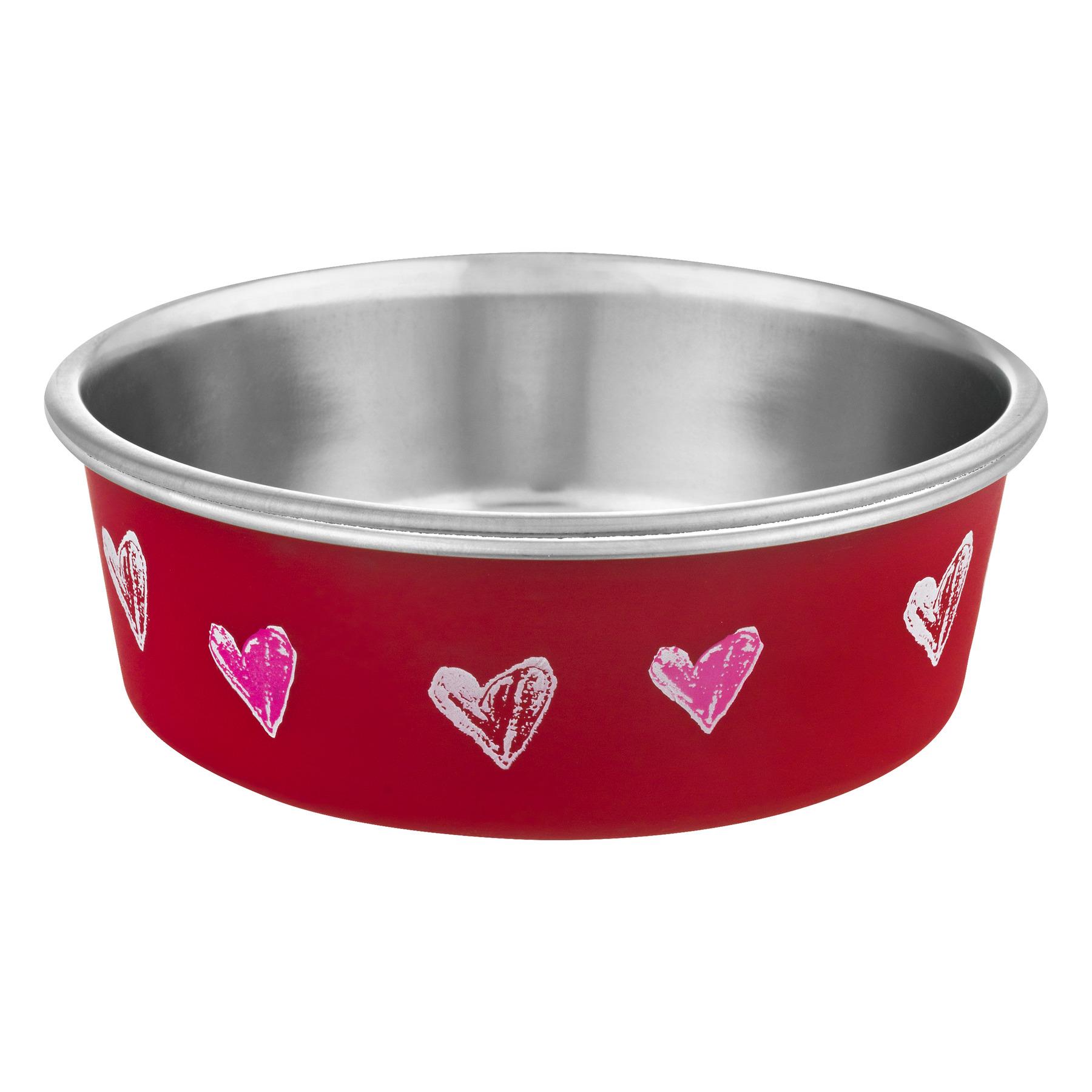 Loving Pets Bella Bowl Small Hearts, 1.0 CT