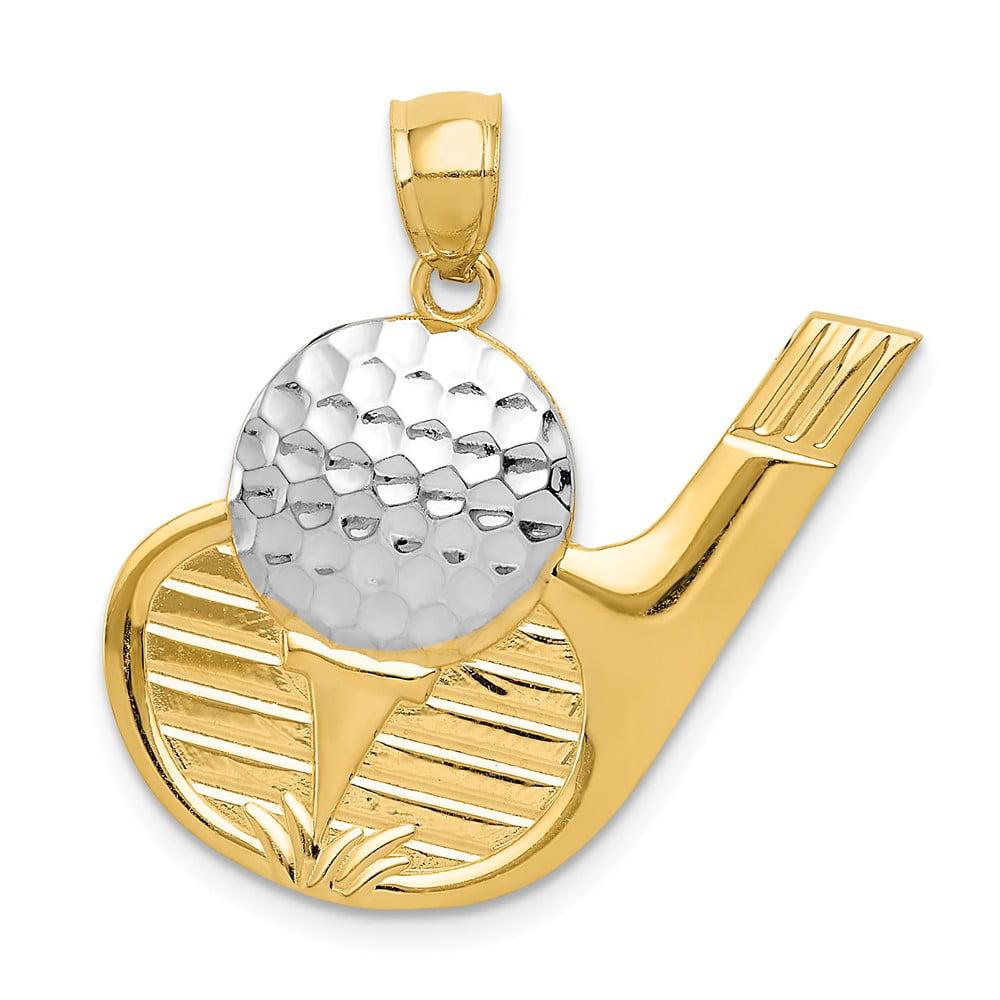 14K Yellow Gold and Rhodium Golf Pendant