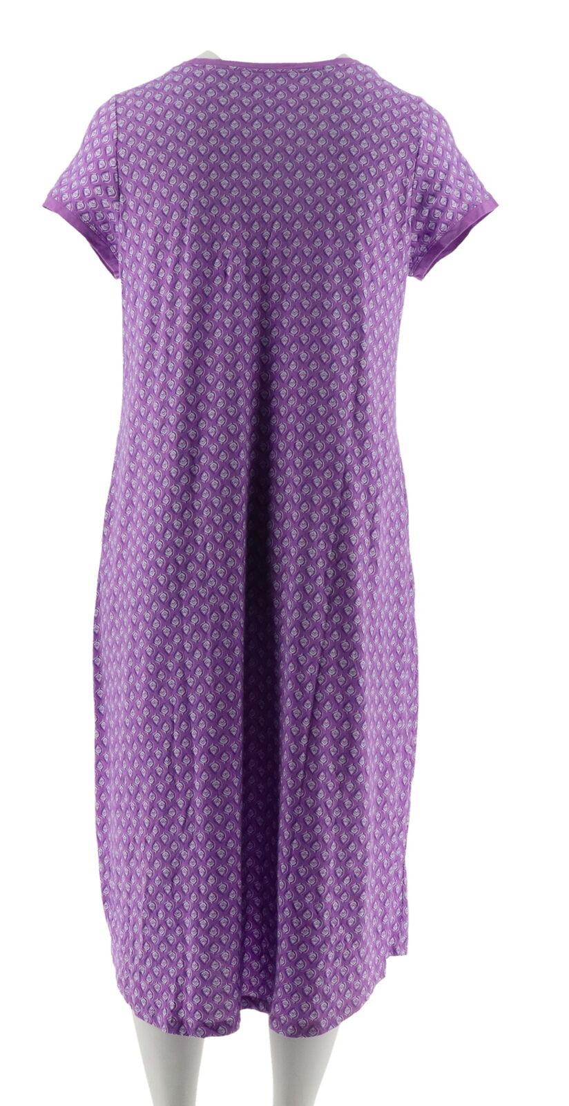 Carole Hochman Teardrop Jersey Long Gown Shelf Bra Purple L NEW A302163
