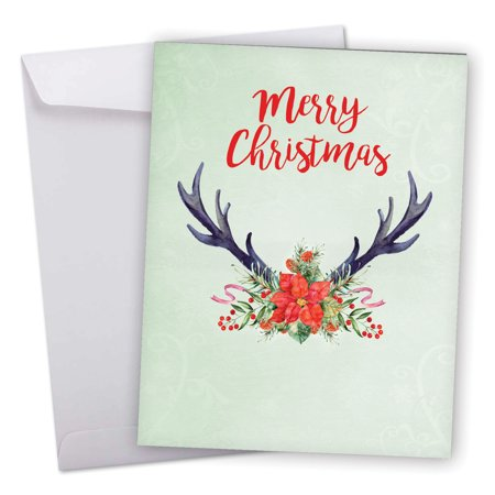 J6720CSGG Extra Large Seasons Greetings Greeting Card: 'Floral Horns Seasons Greetings' Featuring Christmas Greetings Over Reindeer Antlers and Flower Arrangement Greeting Card with Envelope by The Be](Reindeer Horns)