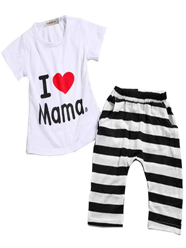 StylesILove Unisex Baby I Love Mama or PaPa T-shirt and Pants 2-piece (18-24 Months, I Love Mama)