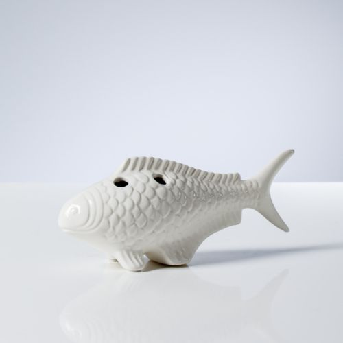 Torre & Tagus Koi Ceramic Fish Vase Small - White