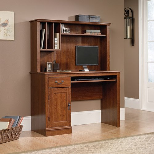 Sauder Camden County Computer Desk With Hutch Planked Cherry